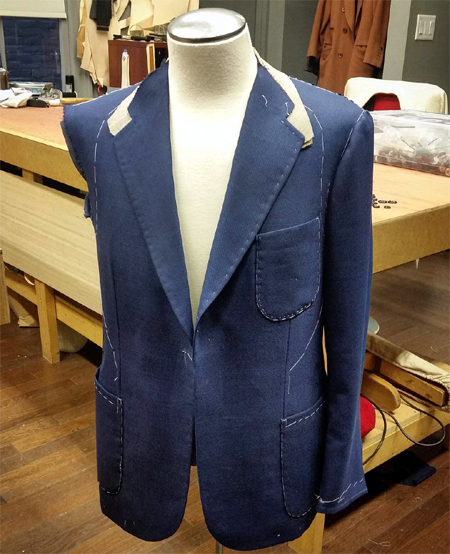 The second fitting of my jacket on a mannequin in Signor's atelier.