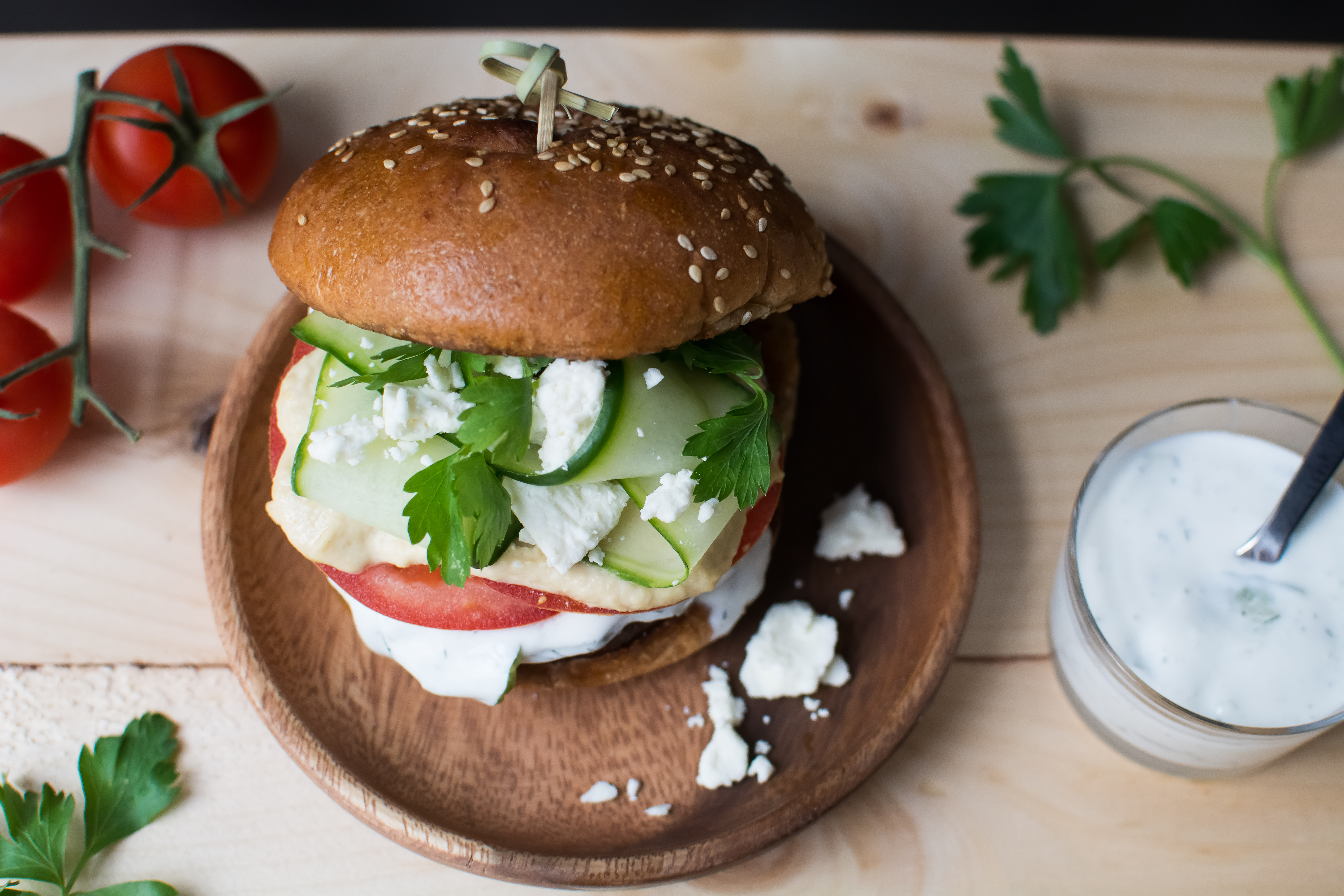 Greek Veggie Burgers with Tzatziki & Feta | The Holistic Grail