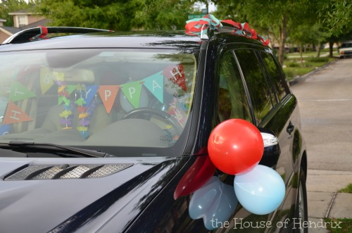Surprise your child when they hop in the car on their birthday! Decorate it!
