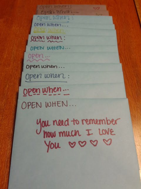 "Give your man a stack of letters that he can ""Open When""..."