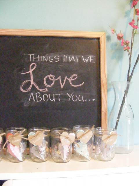 Things that we love about you Blessings Jars