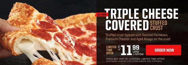 Pizza Hut Triple Cheese Covered Stuffed Crust Pizza