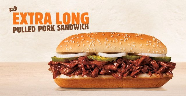 Burger King Extra Long Pulled Pork Sandwich