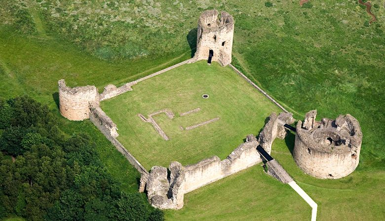 An aerial view of Flint Castle, Wales