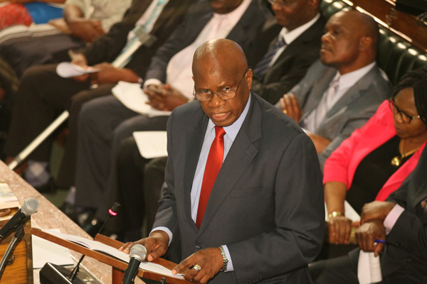 Finance minister Patrick Chinamasa presenting the 2016 national budget