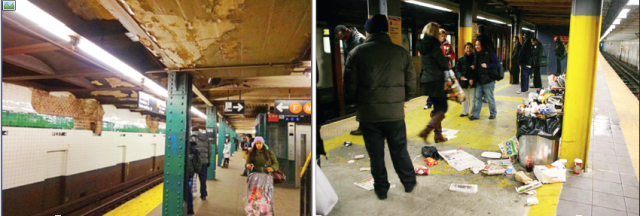 Two pictures of the dirty subway train stations. Can MTA chief justify this filth and dirtiness in the capital of the world?