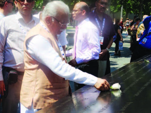 Manohar Lal pays homage at the 9/11 Memorial , August 16