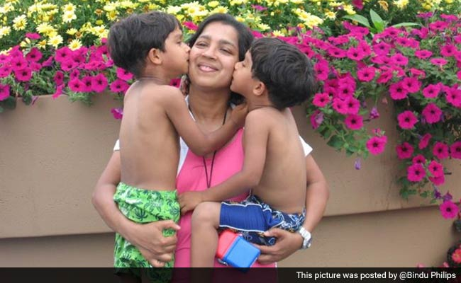 Bindu Philips with her twin boys before they were allegedly abducted by her ex-husband