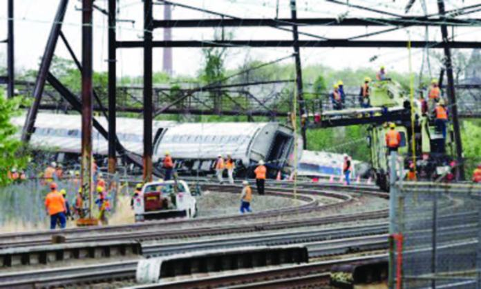 Amtrak Train 188 from Washington to New York derailed, speeding at 106 mph right before entering a 50 mph section.