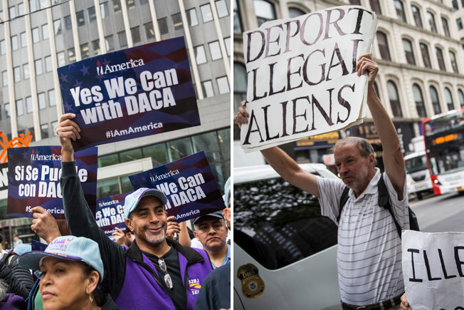 Activists protest for and against President Barack Obama's immigration policies on May 19 in New York City.
