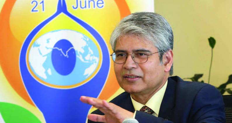 India's Permanent Representative to the United Nations, Ambassador Asoke Mukerji gave out details of International Day of Yoga celebrations at a press conference on June 17. - Photo/ Jay Mandal