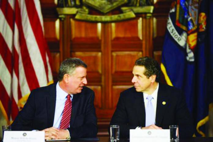 Andrew Cuomo and Bill de Blasio at a joint press conference in Albany. (Photo: Twitter/NYC Mayor's Office)