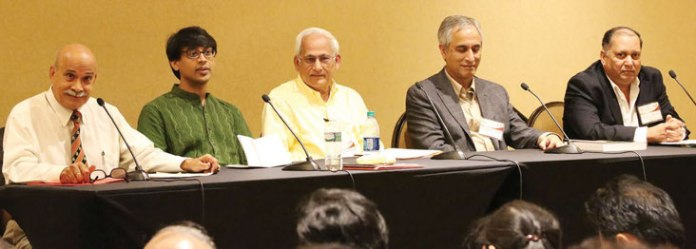 Eminent Scientists and Experts discuss Contributions of Hindus in Science and Mathematics. Left to Right: Moderator Dr. Basant Tariyal, Fields Medalist Dr. Manjul Bhargava, Physicist Dr. GNR Tripathi, Computer Scientist Dr. Subhash Kak, Professor Alok Kumar