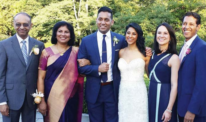The happy Abraham family. (L to R): George, Lona, Vilas, Suneela, Danielle, and Steven