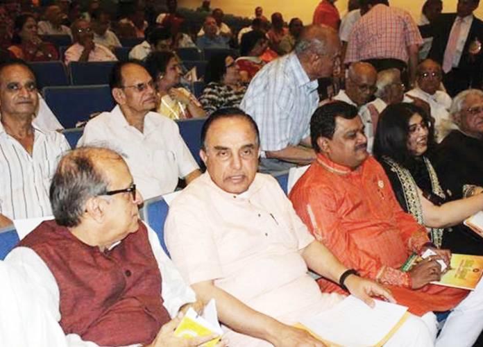 (From L to R): Rajiv Malhotra, Dr. Subramanian Swamy, Suresh Chavanke, and Aditi Banerjee