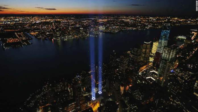 The Tribute in Light is an art installation of 88 searchlights placed next to the site of the World Trade Center to create two vertical columns of light in remembrance of the September 11 attacks. It is produced annually by the Municipal Art Society of New York.