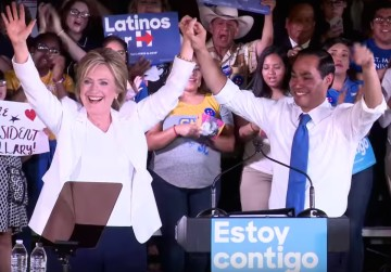 Hillary Clinton makes her first visit to Texas ahead of the 2016 Democratic primary, receiving endorsements from San Antonio's Joaquin Castro and, pictured here, Julián Castro. Photo courtesy Clinton campaign/YouTube