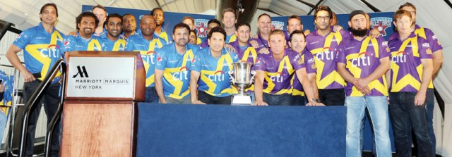 Sachin Tandulkar and Shane Warne teams with the All Stars Cricket Cup at a press Conference on November 5, 2015 in New York City. The Series kicks off with a match to be played in New York on November 7. Photo/ Mohammed Jaffer-SnapsIndia