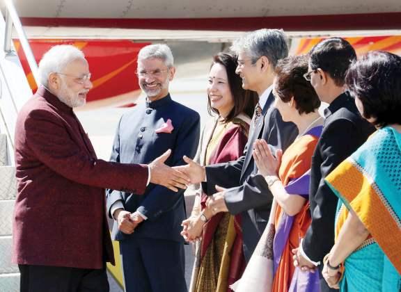 Ambassador Mukerji greets the Prime Minister of India, Narendra Modi. Seen from L to R: The then Ambassador to the US Jai Shankar, Mrs. Shankar, Ambassador Asoke Mukerji, Mrs. Mukerji, Consul General Dnyaneshwar Mulay and Mrs. Sadhna Mulay
