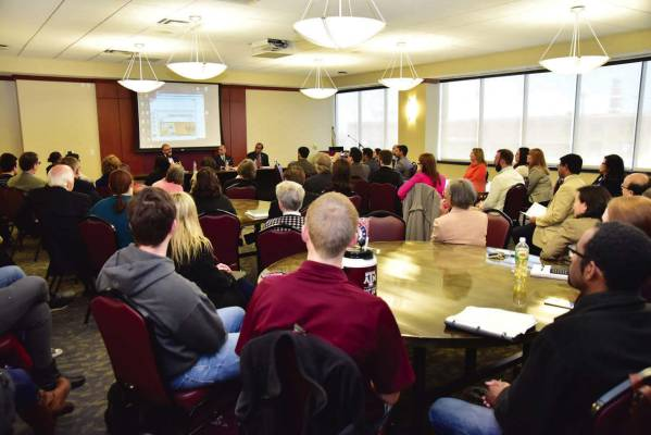 A view of the gathering at the Panel discussion co-hosted by Texas A&M University School of Law and Confederation of Indian Industry (CII) on Wednesday, 24 February 2016 at Texas A&M School of Law, Fort Worth, TX