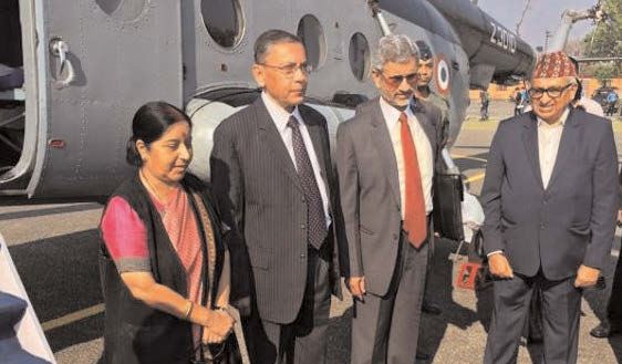 External affairs minister Sushma Swaraj left Pokharan on Friday after attending the SAARC ministerial meeting in Nepal. (ANI?Photo)