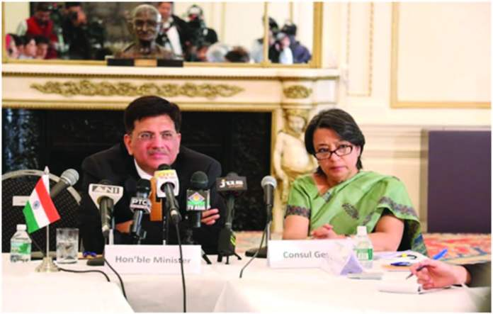Minister spoke about various steps undertaken by Indian Government to improve energy access at a meeting with local media at the Indian Consulate on April 21. Seated with the Minister is Consul General Riva Ganguly Das