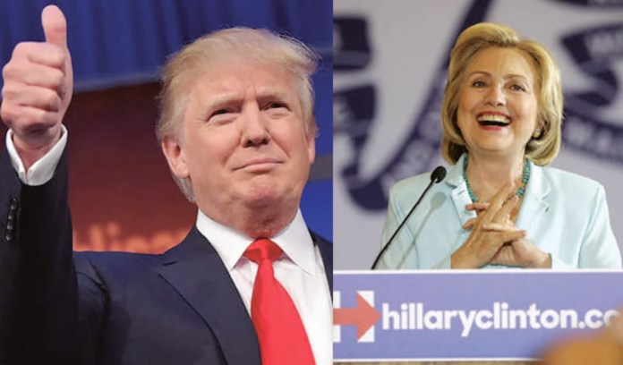 Hillary Clinton and Donald Trump celebrate victory in their respective primaries in New York on Tuesday, April 19.