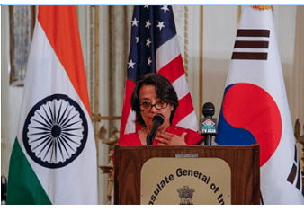 Ambassador Riva Ganguly Das welcoming the gathering