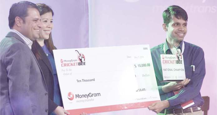 Bharat Jayakumar of Sunnyvale, California bagged the title of Champion and $10,000 prize money. (Left to Right): Rahul Walia, founder of the MoneyGram Cricket Bee, Ivy Wisco, MoneyGram, Bharat Jayakumar, National Champion of the MoneyGram CricketBee