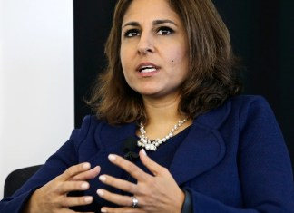 Neera Tanden, president of Center for American Progress, speaks during an introduction for New Start New Jersey, that will be exploring new ways to create jobs and improve the state's quality of life, at NJIT in Newark, NJ, Monday, Nov. 10, 2014. (AP Photo/Mel Evans)