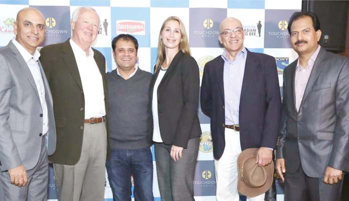 At the launch. From left to right: Neeraj Arora, EVP, Head of International Business, Sony Pictures Network; Vagn Fausing, Owner Representative, Kawan Foods; Rahul Walia, Founder South Asian Spelling Bee; Hayley Freundlich, Director, Diverse Markets and Marketing Support, MetLife; Nasser Beg - Bombay Trading, Britannia Agency; Jaideep Janakiram, SVP International Business- Head of North America, Sony Pictures Networks