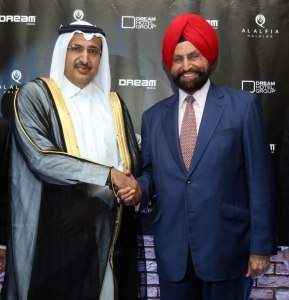 Sant Singh Chatwal with Sheikh Sultan Bin Jassim Bin Mohamed Al-Thani with whom he signed $300 million Dream -Doha deal in New York, May 3.