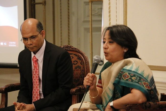 Consul General Ms Riva Ganguly Das (right) and Deputy Consul General Dr Manoj Kumar Mohapatra addressing the gathering