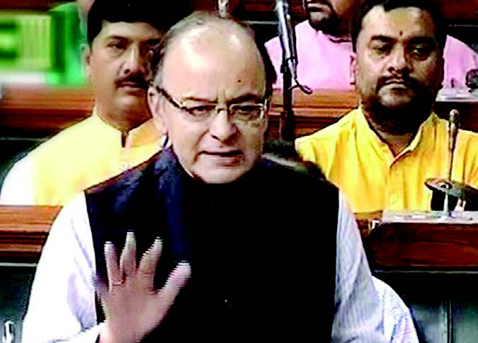Finance Minister Arun Jaitley speaks in the Lok Sabha in New Delhi on July 28 during the ongoing monsoon session.