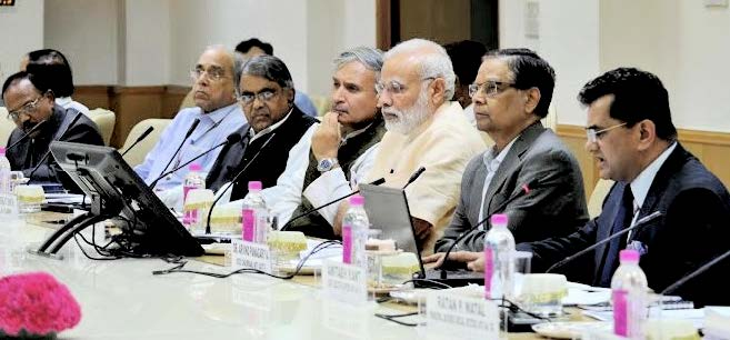 PM Narendra Modi during a meeting with Niti Aayog officials. (Source: Twitter/Niti Aayog)
