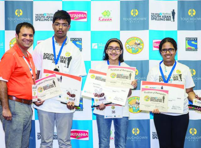 New Jersey Winners (Left to Right): Rahul Walia, founder of The MassMutual South Asian Spelling Bee, Christy Jestin, first runner-up, Shruthika Padhy, regional champ, and Roshni Kainthan, second runner-up.