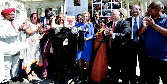 Congresswoman Carolyn Maloney and Diwali Stamp Project Chairperson Ranju Batra announced that the Diwali Stamp will be unveiled on October 5 at the Indian Consulate. Seen in the picture, from L to R: Prof. Indrajit Saluja, Neeta Bhasin, Rajeev Sharma, Vandana Sharma, Regional Manager Air India, Ranju Batra, Congresswoman Carolyn Maloney, Kamlesh Mehta, Consul General Riva Ganguly Das, Pal Dhillon, Ravi Batra, Harpreet Singh Toor, Sudhir Vaishnav, Srujal Parikh -- Photo/ Mohammed Jaffer-SnapsIndia