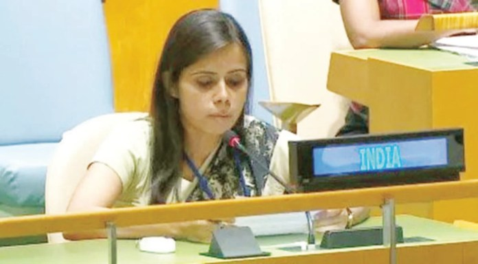 Exercising right to reply, India's First Secretary Eenam Gambhir directly took on Pakistan calling it a terrorist state and a global epicenter of terrorism