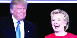 """With 12 days left to breasting the tape, both presidential candidates are campaigning at a feverish pitch. Trump in Ohio on October 27 said: 'We should just cancel the election and just give it to Trump"""". Will Hillary have the last laugh?"""
