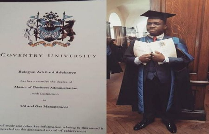 Adefemi Balogun, son of late Sikiru Ayinde Barrister bags MBA with distinction from Coventry University, UK (Photos)