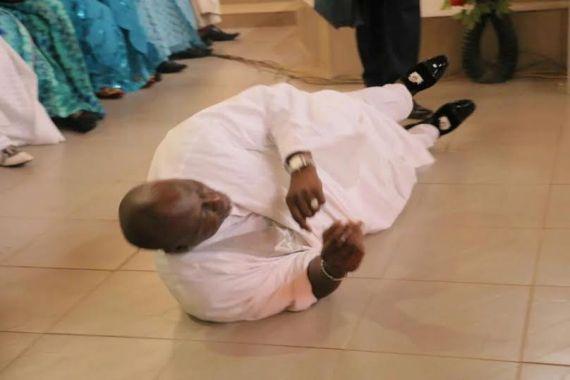 Senator Dino Melaye rolls on the floor during Thanksgiving Service (photos)