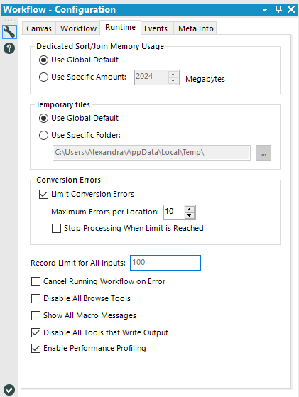 Workflow Configuration Menu