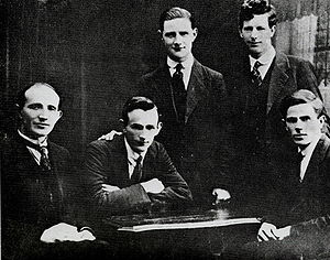 Four members of The Squad, left to right: Michael McDonnell, Tim Keogh, Vinny Byrne, Paddy Daly and Jim Slattery, Byrne and daly were prominent in the Civil War, Daly may have been behind the killing of prisoners in Kerry.