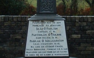 The memorial at Upton to the three IRA killed there. No mention is made of the eight dead civilians.