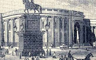 The statue of William of Orange outside Trinity College - a rallying point for unionists throughout the 19th century. It was destroyed in the 1920s.