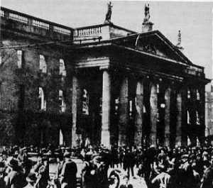 The General Post Office (GPO) in Dublin shortly after the Easter Rising.