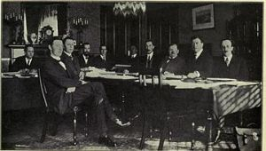 The Free State's constitution committee meets in Dublin's Shelbourne Hotel in 1922.