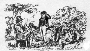 A depiction of a 19th century hedge school.