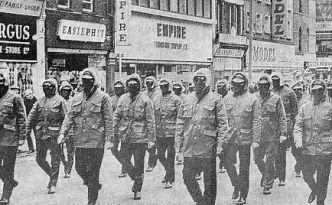 Loyalist paramilitaries march against Sunningdale, 1974.