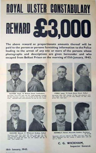 A reward was offered for information on McAteer (top left) and Steele (top right) after their escape from Crumlin Road Jail.